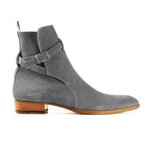 New Handmade JodhPur Gray Suede Leather Ankle Strap Boots for Men's - $149.99+