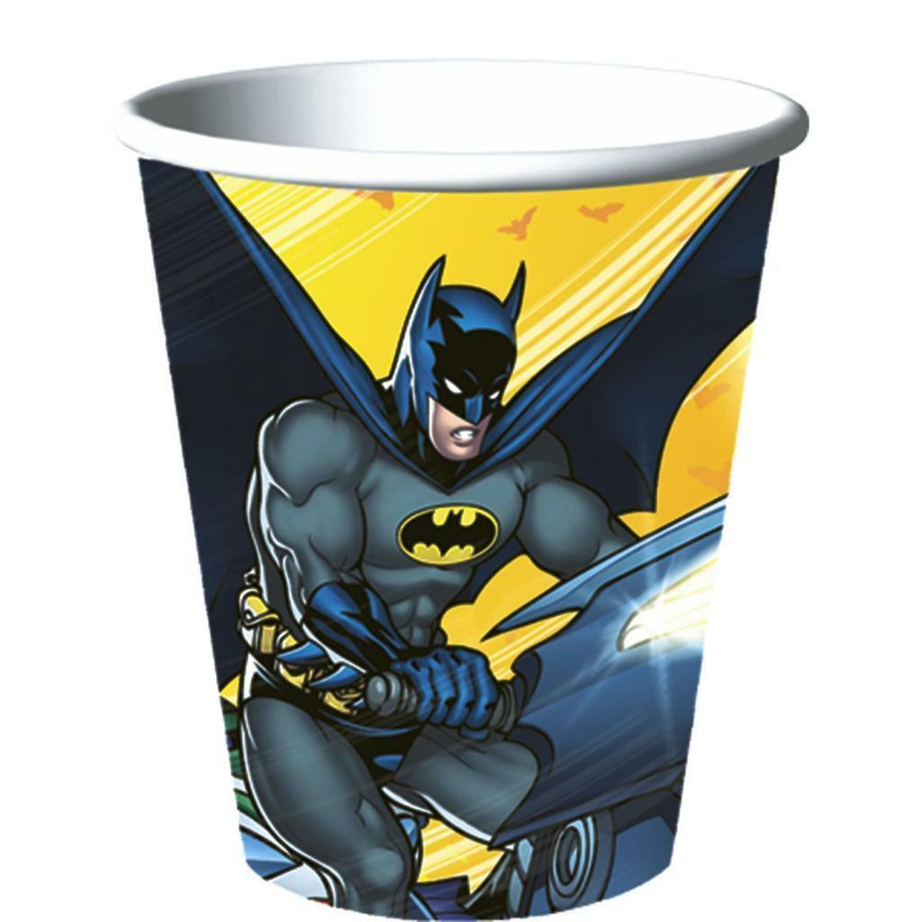 Batman Dark Knight 9 oz Paper Beverage Cups Birthday Party Supplies New - $2.92
