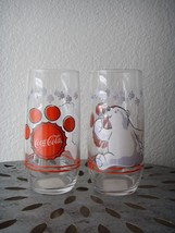 "NEW Set of 2 1999 COCA COLA Polar Bear Glasses Logo Coke Cup 6"" Red Collectible - $29.95"