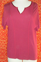NWT H by Bordeaux ANTHROPOLOGIE wine batwing short sleeve blouse S (T30-07A9G)* - $15.82