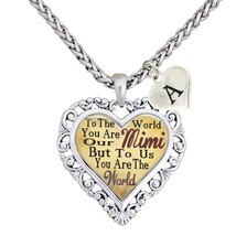 Custom Mimi You are the World To Us Heart Necklace Jewelry Choose Initial - $14.87
