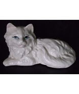 Vintage Cat Kitten Planter Persian Creamy White Long Haired with Blue Eyes - $37.98