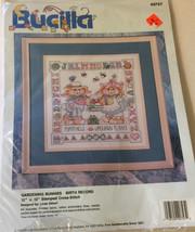 """Vintage Bucilla 12"""" x  12"""" Gardening Buddies Birth Record Stamped Cross Stitch - $29.44"""