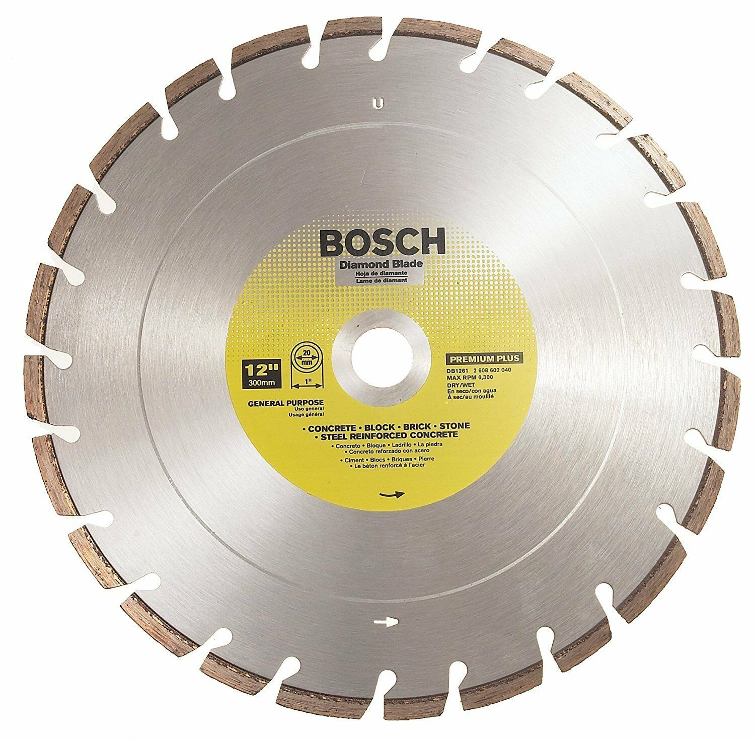 "Primary image for Bosch DB1261 12"" Premium Plus Dry / Wet Cutting Segmented Diamond Saw Blade"