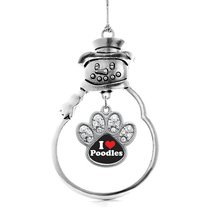 Inspired Silver I Love Poodles Pave Paw Charm Snowman Holiday Christmas Tree Orn - $14.69
