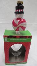 Merry Brite Christmas Blown Glass Peppermint Snowman Ornament - $4.99