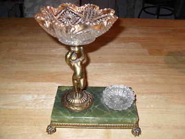 Pairpoint Angel Scalloped Gold Leaf Bowl Marble Footed Desk Decorator Pi... - $160.86