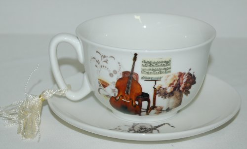 Aim Gifts Music Upright Bass Saxophone Cup and Saucer Set Comes in Gift Box
