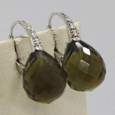 925 STERLING SILVER PENDANT EARRINGS WITH BIG GREEN FACETED DROPS CUBIC ZIRCONIA