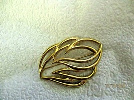 "Monet Open Leaf Gold Tone Brooch Pin 2.5""  Signed - $14.84"