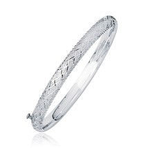 14k White Gold Weave Diamond Cut Dome Children's Bangle - $348.66