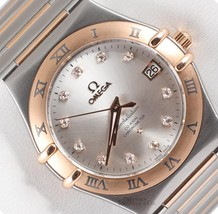 Omega 35mm Constellation 1304.35.00 18k Rose & Steel Factory Diamond Dial-2WTY - $3,311.47