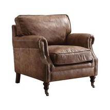 Retro Brown Genuine Leather Accent Chair Acme Furniture 96675 Dundee - $1,450.00