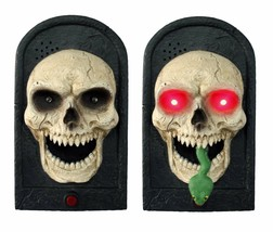 Animated Snake TALKING LIGHTED SKULL DOOR BELL Spooky Sound Halloween De... - $28.47