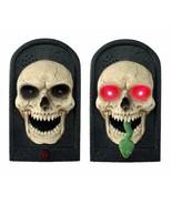 Animated Snake TALKING LIGHTED SKULL DOOR BELL Spooky Sound Halloween De... - $28.47