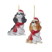 Cavalier King Charles Spaniel w/Santa Hat & Scarf Ornament - $12.95