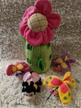 """Unipak Plush Science Toy 13"""" Flower House Tote 5 Piece Bee Bug Butterfly... - $27.99"""