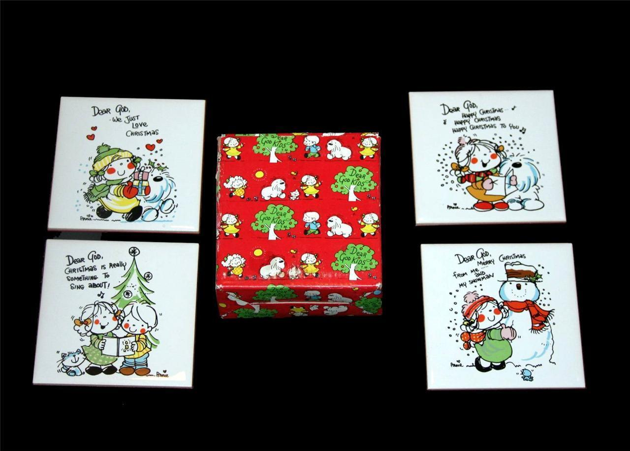 4 Vtg Dear God Whimsical Kids Christmas Tiles w/ Stand or Hanger NIB Enesco 1992