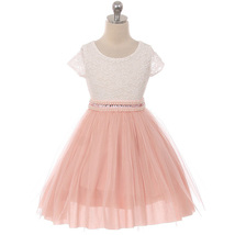 Blush Cap Sleeve Lace Top Tulle Skirt Flower Girls Dresses - $29.99+
