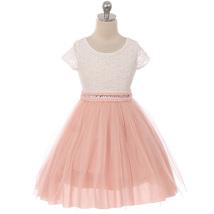 Blush Cap Sleeve Lace Top Tulle Skirt Flower Girls Dresses - $29.99+