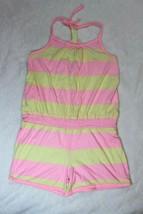 Old Navy Girls Romper Size L 10 12 Pink Yellow Stripe Shortset Spring Su... - $22.76
