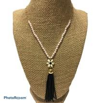 NWT Kate Spade Lovely Lilies black pink beaded enameled flower tassel Necklace - $46.75