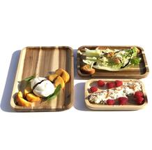"""3 Rectangle Acacia platters party serving set (12"""", 10"""" and 8"""")  WL-555046 - $120.00"""