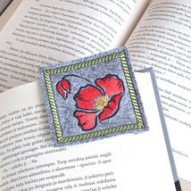 Corner Bookmarks For Book With Red Poppy, Gift For Wife Or Sister, MADE ... - $15.00
