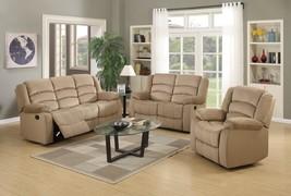 Global Furniture 9824 Contemporary Beige Microfiber Sofa Set 3 Pcs