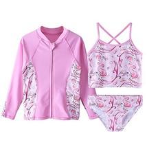 TFJH E Girls Swimsuit SPF UPF 50+ UV 3PCS Mermaid Print Rash Guard Sunsu... - $25.19
