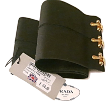 Authentic PRADA New Woman Stretch Fabric Black Wide Waist Belt Size L - $125.00