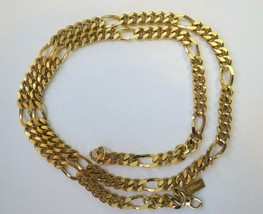 "Vintage Monet Gold Plated Necklace 20"" Flat Figaro Curb Chain Lobster Ca... - $22.76"
