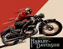 Get There On A Usa Harley Davidson Motorcycle Bike Ride Vintage Poster Repro - $10.96+
