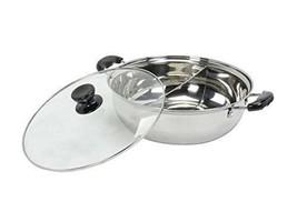 Steel Hot Pot Glass Lid 2 Way Cooking w/ Divider Cookware Home Restauran... - $54.85