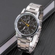 2019 New Luxury Brand Geneva Watch Men Silver Full Steel Quartz Wristwatches Fas - $9.93