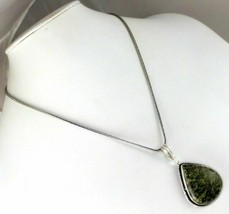 Green Forest Jasper Silver Plated Pendant With Chain / Necklace V-3-231018-43_5 - $4.23