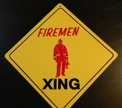 Large Crossing Funny Novelty Xing Sign Firemen Standing red color - $13.85