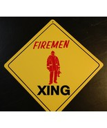 Large Crossing Funny Novelty Xing Sign Firemen Standing red color - $15.00