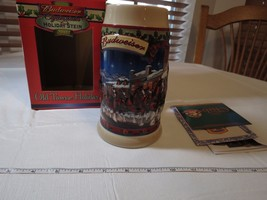 Budweiser RARE Stein 2003 mug Christmas Old Towne Holiday Clydesdale's C... - $39.59