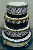 Navy and Gold Nautical Themed Baby Shower 4 Tier Diaper Cake Centerpiece... - $85.50