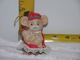 Vtg JASCO Mother Mouse w/Baby | Caring Critter Chimer | Porcelain Bisque... - $6.17