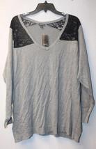 New Torrid Womens Plus Size 4X Gray & Black Lace Inset Shoulders Sweater Shirt - $30.00