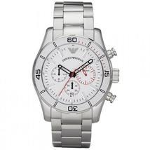 Emporio Armani AR5932 White Dial Stainless Steel Bracelet Luxe Men's XL Watch - $189.99