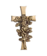 Brass Rose on Cross Applique for Round Cremation Urn, Pewter Also Available - $59.99