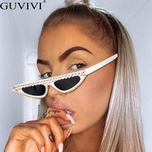 Cat Eye Sunglasses Women  Luxury Diamond Sunglasses Men Small Glasses Ladies Vin image 4