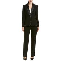 Tahari by ASL Shawl Collar Trimmed Besom Pocket Pants Suit, Black,4 - $247.49