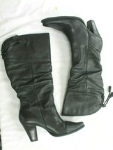 White Mountain Size 9 Arlington Slouch Black Leather Mid Calf high Heeled Boots - £29.40 GBP