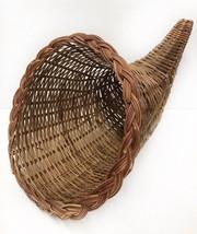 "21"" Thanksgiving Footed Wicker Cornucopia Horn of Plenty Basket Wide Mouth - $25.65"