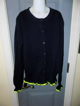 Crew Cuts J.Crew Navy Blue/Lime Green Ruffle Cardigan Sweater Size 14 Gi... - $26.70