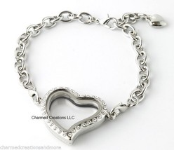 SECURITY CLASP 10pc Lot Crystal Heart Floating Charm Memory Locket Bracelet - $59.39